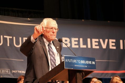 Bernie Sanders giving a speech at an event in New Hampshire.