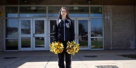 Brandi Levy standing in front of her school, Mahanoy Area High School.