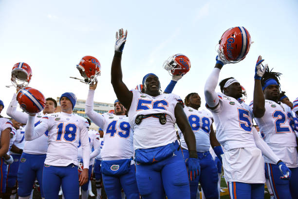 COLUMBIA, MISSOURI - NOVEMBER 16:  Members of the Florida Gators celebrate a 23-6 win over the Missouri Tigers in the fourth quarter at Faurot Field/Memorial Stadium on November 16, 2019 in Columbia, Missouri. (Photo by Ed Zurga/Getty Images)