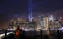NEW YORK, NY - SEPTEMBER 11:  The Tribute in Light memorial lights up lower Manhattan near One World Trade Center on September 11, 2018 in New York City. The tribute at the site of the World Trade Center towers has been an annual event in New York since March 11, 2002. Throughout the country services are being held to remember the 2,977 people who were killed in New York, the Pentagon and rural Pennsylvania in the terrorist attacks on September 11, 2001.  (Photo by Spencer Platt/Getty Images)